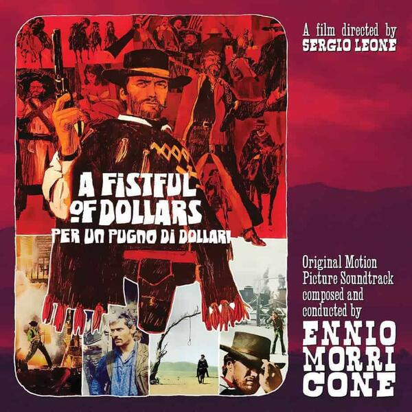 "Cover of vinyl record A FISTFULL OF DOLLARS - (RED 10"") by artist MORRICONE, ENNIO"